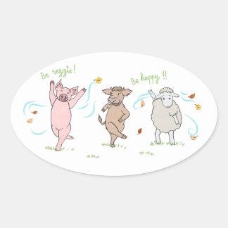 Pegatina Ovalada Autoadhesivo vegan: cerdo, vaca y oveja