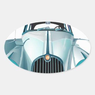 Pegatina Ovalada automóvil del vintage del coche del oldtimer