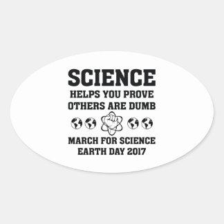 Pegatina Ovalada Ayudas de la ciencia que usted prueba