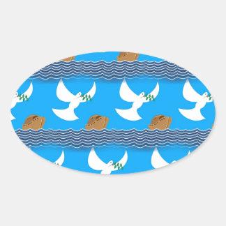 Pegatina Ovalada Azul abstracto de la paloma y de la tierra del