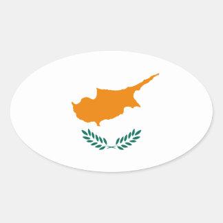 Pegatina Ovalada ¡Bajo costo! Bandera de Chipre