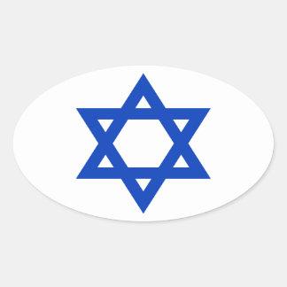 Pegatina Ovalada ¡Bajo costo! Bandera de Israel