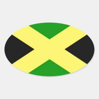 Pegatina Ovalada ¡Bajo costo! Bandera de Jamaica