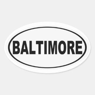 Pegatina Ovalada Baltimore Maryland