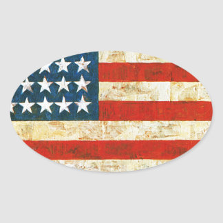 Pegatina Ovalada Bandera americana