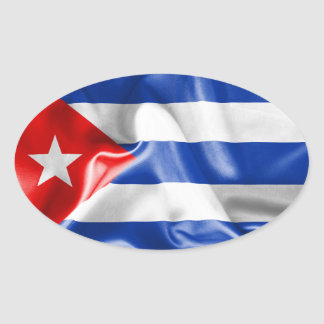 Pegatina Ovalada Bandera de Cuba