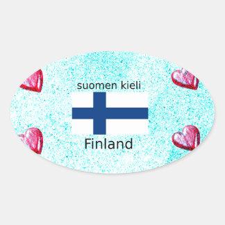 Pegatina Ovalada Bandera de Finlandia y diseño finlandés de la
