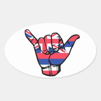 Pegatina Ovalada Bandera de Shaka Hawaii