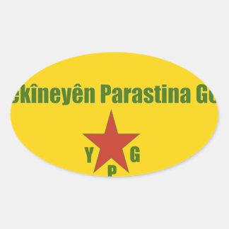 Pegatina Ovalada Bandera de YPG