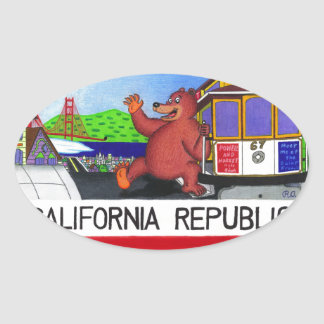 Pegatina Ovalada Bandera del oso de San Francisco California