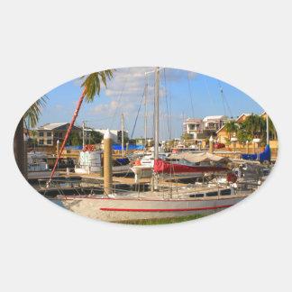 Pegatina Ovalada Barcos en el puerto deportivo, Darwin, Australia