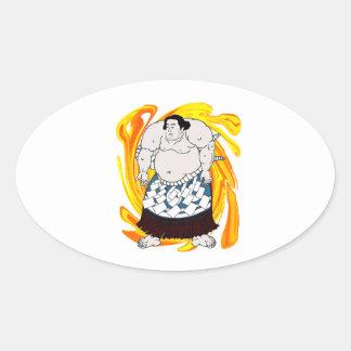 Pegatina Ovalada Barrendero del sumo