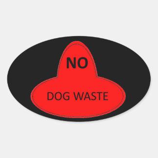 Pegatina Ovalada Basura del perro - NO