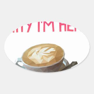 Pegatina Ovalada Beca bebida anónima del AA del café