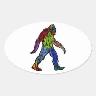 Pegatina Ovalada Bigfoot en grande