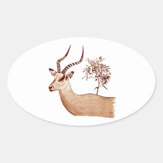 Pegatina Ovalada Bosquejo animal del dibujo de la fauna del