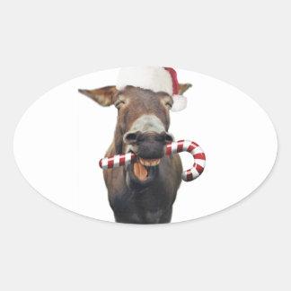 Pegatina Ovalada Burro del navidad - burro de santa - burro santa