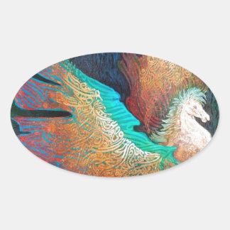 Pegatina Ovalada Caballo de vuelo