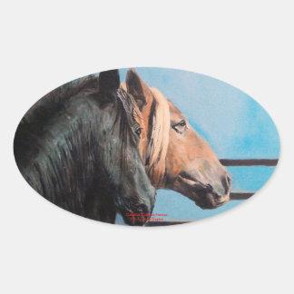 Pegatina Ovalada Caballos/Cabalos/Horses