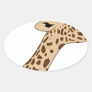 Pegatina Ovalada Cabeza de la jirafa