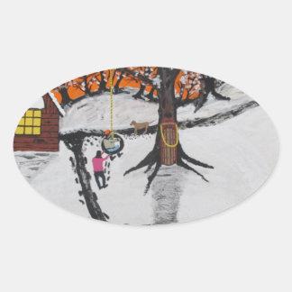 Pegatina Ovalada Cabina de la selva virgen