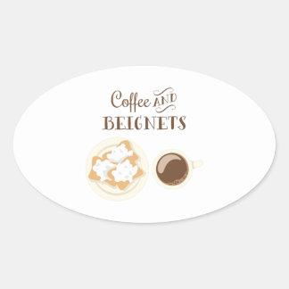 Pegatina Ovalada Café y Beignets