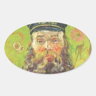 Pegatina Ovalada Cartero José Roulin - Vincent van Gogh del retrato