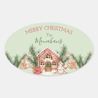 Pegatina Ovalada Casa de pan de jengibre del navidad del país