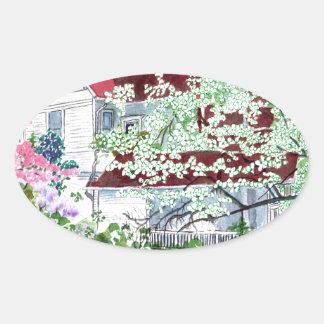 Pegatina Ovalada Casa del Victorian de Eureka Springs