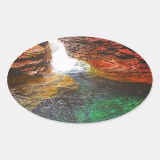 Pegatina Ovalada Cascada