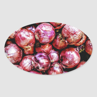 Pegatina Ovalada Cebolla roja