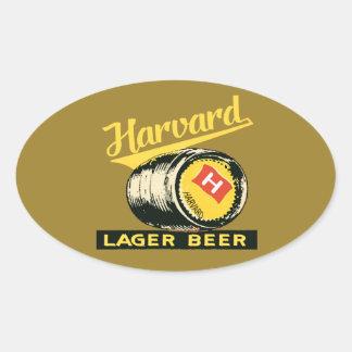 Pegatina Ovalada Cerveza de cerveza dorada de Harvard