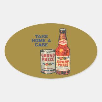 Pegatina Ovalada Cerveza de cerveza dorada premiada magnífica para