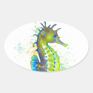 Pegatina Ovalada Chapoteo del Seahorse del verde amarillo