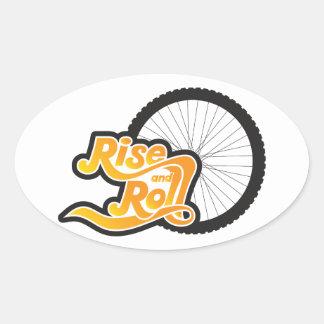 Pegatina Ovalada ciclista de la subida y del rollo