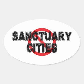 Pegatina Ovalada Ciudades del santuario de la prohibición