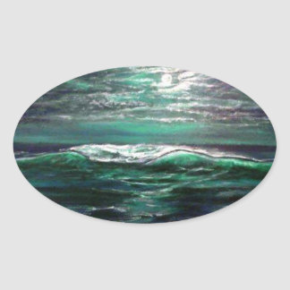 Pegatina Ovalada claro de luna de la onda de la playa
