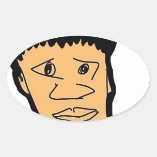 Pegatina Ovalada colección filipina de la cara del dibujo animado