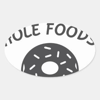 Pegatina Ovalada Coma más comidas del agujero