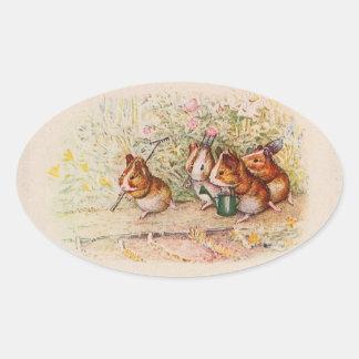 Pegatina Ovalada Conejillos de Indias que plantan en el jardín