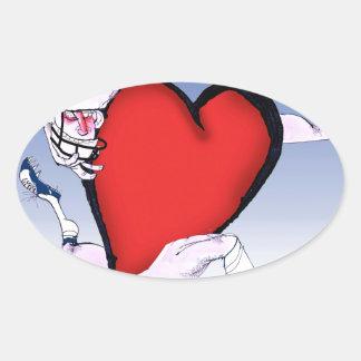 Pegatina Ovalada corazón principal de Rhode Island, fernandes tony