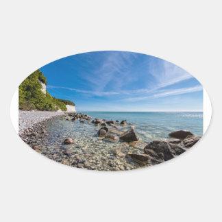 Pegatina Ovalada Costa de mar Báltico en la isla Ruegen