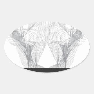 Pegatina Ovalada Cráneo abstracto del oso