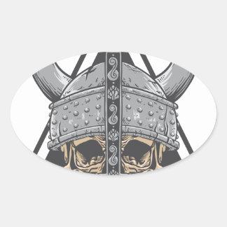 Pegatina Ovalada Cráneo de Viking
