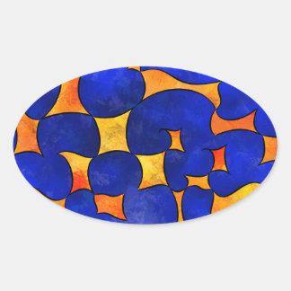 Pegatina Ovalada Cubos de fusión de Blesmios V1-