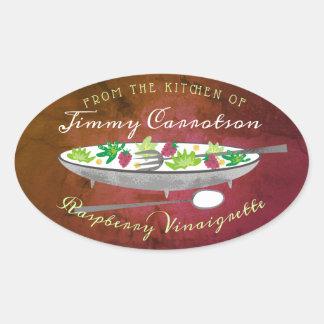 Pegatina Ovalada Cuenco de ensalada de la frambuesa de la cocina