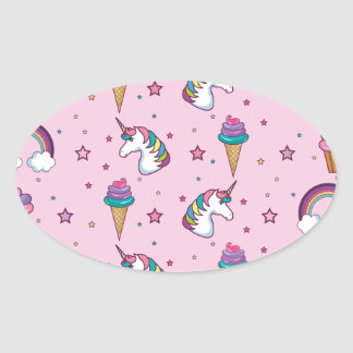 Pegatina Ovalada Cuento de hadas del unicornio del helado de la