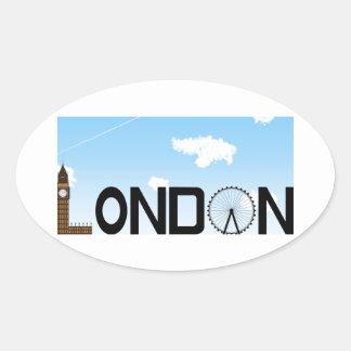 Pegatina Ovalada D3ia del horizonte de Londres