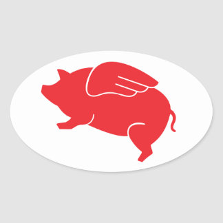 Pegatina Ovalada 🐷 del cerdo del vuelo