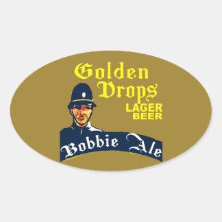 Pegatina Ovalada Descensos de oro/cerveza inglesa de Bobbie